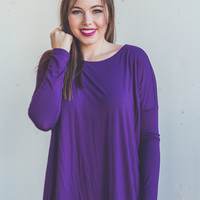 Long Sleeve Round Neck Piko Top in Purple