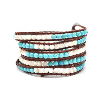 """HOLIDAY CLEARANCE SALE! The Infinite Sky - 34"""" Turquoise and White Beaded Brown Leather Wrap Bracelet"""