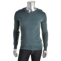 Calvin Klein Mens Heathered Ribbed Trim V-Neck Sweater