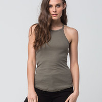 BOZZOLO Ribbed High Neck Womens Tank | Essentials