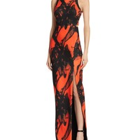 BarianoLily Cage Back Printed Gown