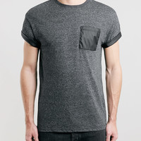 GREY LEATHER LOOK POCKET T-SHIRT - Topman