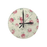 Vintage Pink Roses Round Wallclock from Zazzle.com