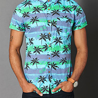 Palm Tree Cotton Shirt Blue/Green