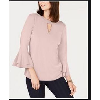 Charter Club Bell-Sleeve Keyhole Top.