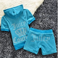 Juicy couture Trending Casual Diamond Print Short Sleeve Shorts Two Piece Set Blue