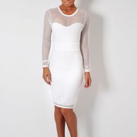Milkshake White Fishnet Mesh Midi Dress | Pink Boutique