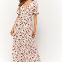Floral Button-Front Maxi Dress