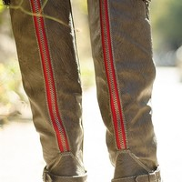 Breckelles Saddle Up Tall Red Zipper Riding Boots - Taupe