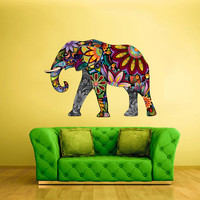 Full Color Wall Decal Mural Sticker Decor Art Floral Flowers Elephant Gift (col323)