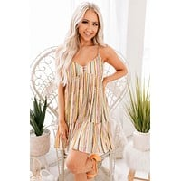 Good Times Roll Babydoll Dress (Multi Stripe)