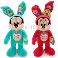 Rare Easter Blue Mickey Pink Minnie Plush Bunny Suit 38cm Cute Stuffed Animals Soft Kids Toys Dolls Children Gifts