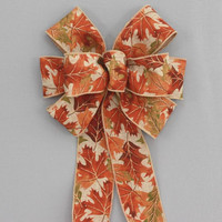 Fall Leaves Rustic Linen Fall Wreath Bows