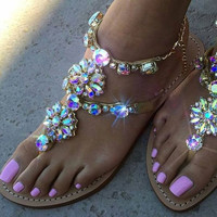 2017 Brand Shoes Woman Shoes Women Sandals Crystal Flat Heel Women's Shoes Flip Flops Beach Sandalias Crystal Beading