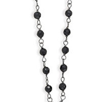 Faceted Black Onyx Drop Necklace on Oxidized Sterling Silver Chain
