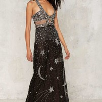 Nasty Gal Collection Dancing Out in Space Beaded Maxi Dress