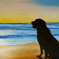 Days End Dog on Beach at Sunset original acrylic painting
