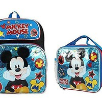 """Disney Mickey Mouse Boys & Girls 12"""" Canvas Blue School Backpack + Lunch Bag"""