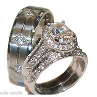 His & Hers 3 Piece Halo Cz Wedding Band Ring Set Stainless Steel & Titanium