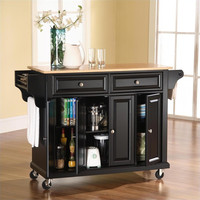 Natural Wood Top Kitchen Cart in Black by Crosley Furniture