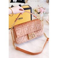 Fendi Fashion New More Letter Velvet Chain Shopping Leisure Shoulder Bag Women