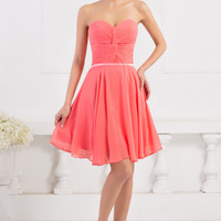 Watermelon Red Off Shoulder Ruched Homecoming Dress