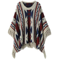 Geometric Print Pullover Batwing Fringe Knitted Sweater
