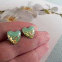 Mint Green Gold Heart Stud Earrings  Polymer Clay by LaLiLaJewelry