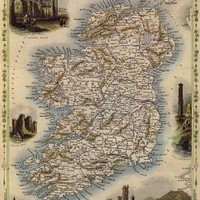 1800'S MAP IRELAND DUBLIN IRISH SEA 1850 VINTAGE POSTER