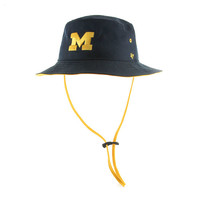 Adjustable Hats '47 Brand University of Michigan Navy Kirby Bucket Hat with Strap