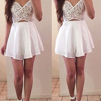 White Detail Cut-Out Romper