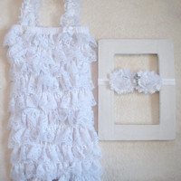 White Baby Baptism Lace Petti Romper SET-Cross Headband-Baby Girl Clothes-Newborn-Infant-Child-Toddler-Confirmation-Church Dress-Easter-Chic