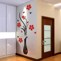 DIY Vase Flower Tree Crystal Arcylic 3D Wall Stickers Decal Home Decor Decoration room Decals Wall Art Sticker wallpaper