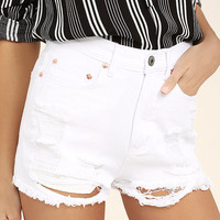 Wreck-Reational Activity White Destroyed Denim Shorts