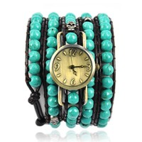 90's Gril's Handmade Turquoise Beads Wrap Watch Green