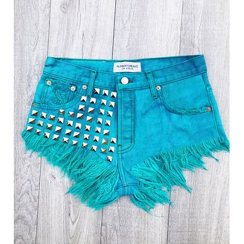 Bel Air Turquoise Studded Vintage Shorts