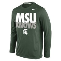 The Nike Knows Legend Long-Sleeve (Michigan State) Men's Shirt.