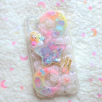 Kawaii Pastel Decoden Little Twin Star XR IPhone Case