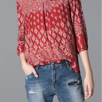 Red Totem Floral Print Sleeve Shirt