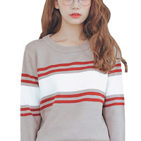 Stripe Color Block Long Sleeve Knitted Pullover Sweater