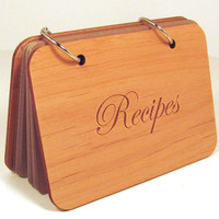 Wooden Recipe Book - Engraved Wood Covers