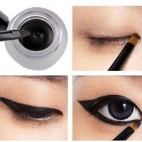 pro new Waterproof Eye Liner Eyeliner Shadow Gel Makeup Cosmetic + Brush Black