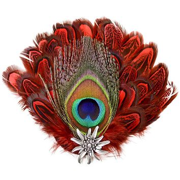 Deluxe Hat Pin with Peacock & Red Fedora Feathers
