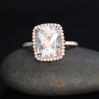 14k Rose Gold 11x9mm White Topaz Cushion and Diamonds Wedding or Engagement Ring (Choose color and size options at checkout)