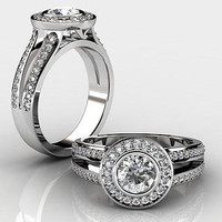 AMAZING 1.51CT WHITE ROUND 925 STERLING SILVER ENGAGEMENT AND WEDDING RING