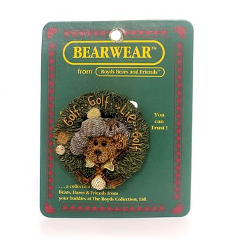 Boyds Bears Resin ARNOLD CHIP N' PUTT PIN Teddy Bear Golf Ball Club 26121.
