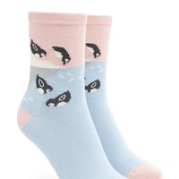 Sliding Penguin Print Socks