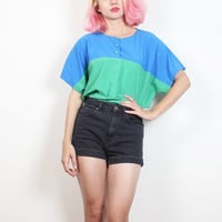 Vintage 1980s Blouse Teal Blue Green Color Block Draped Tshirt Top 80s Color Blocked New Wave Mod T Shirt Hipster Tee Loose M L Large XL