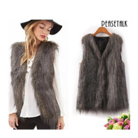 Faux Fur Vest Waistcoat Winter Warm Long Hair Coat Outwear