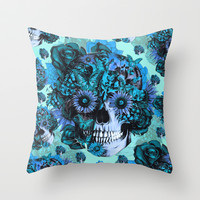 Full circle...Floral ohm skull pattern Throw Pillow by Kristy Patterson Design